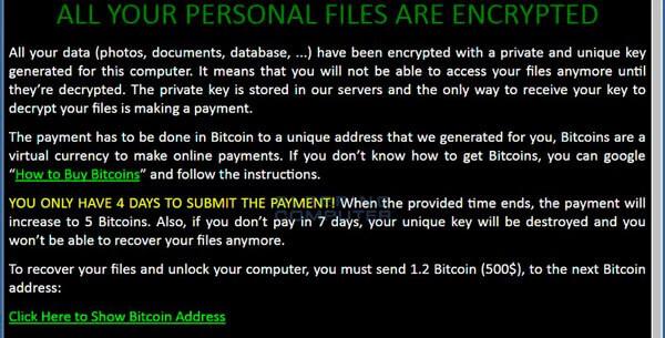 Окно предупреждения шифровальщика ZCryptor