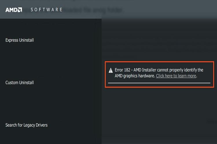 Ошибка 182 AMD Software