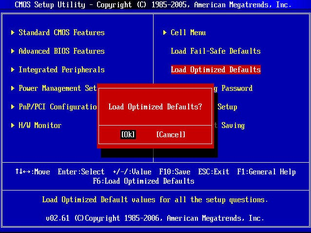 подтверждение Load optimized defaults в биосе