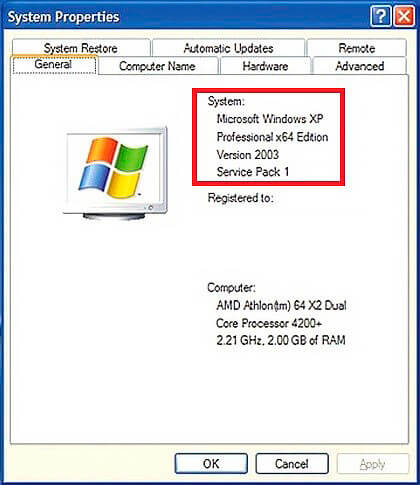 Свойства компьютера Windows XP