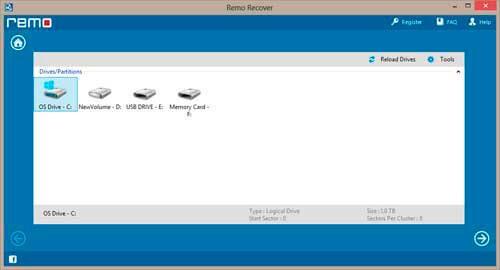 Окно выбора сканируемого раздела Remo Recover
