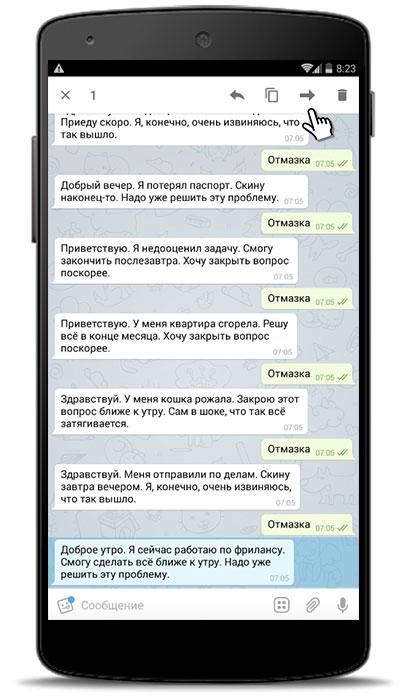 скрины сообщений