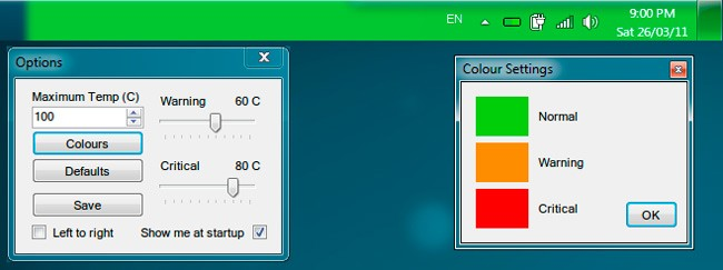 Основное и окно настроек утилиты Temp Taskbar
