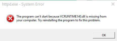 Окно сообщения о недостающем vcruntime140
