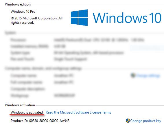 Активированная Windows