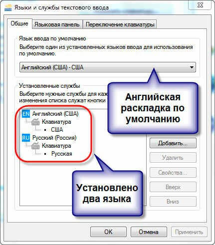 Вкладка Общие в окне Языка ввода текста