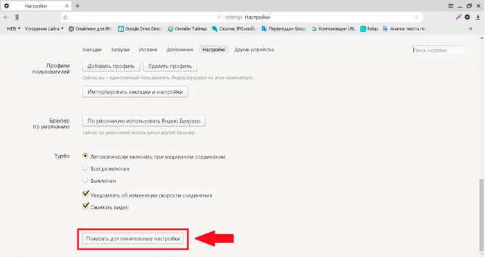 Ссылка на дополнительные опции Яндекс Браузера
